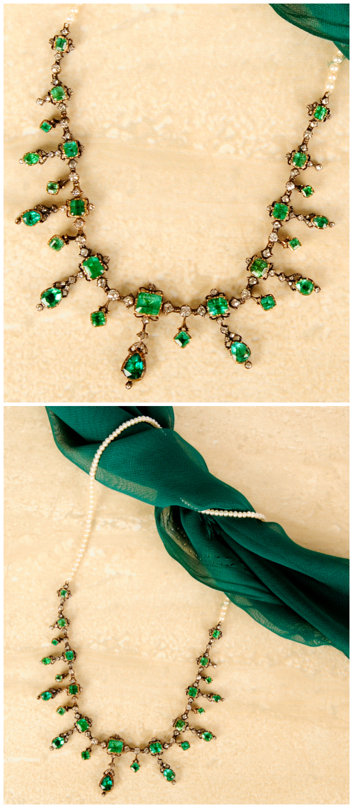 An antique emerald, diamond and seed pearl necklace.