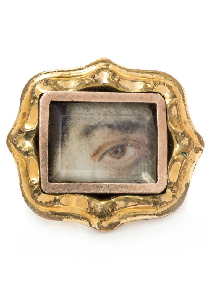 An antique gold-filled lover's eye pin. This rare beauty is headed to auction at Leslie Hindman.