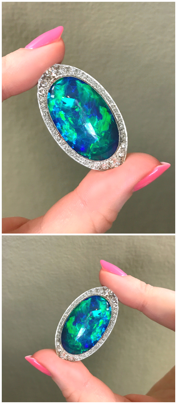 An utterly stunning Art Deco black opal brooch from Joden.