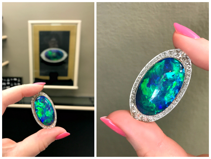 An utterly stunning antique Art Deco black opal brooch from Joden.