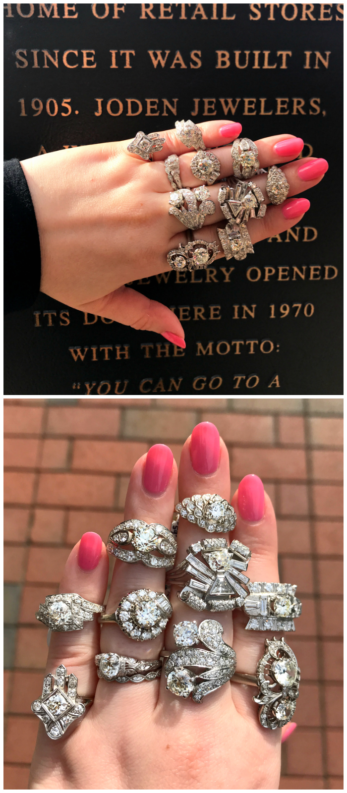 Beautiful vintage diamond rings from Joden! This plaque outside the store commemorates its long history in downtown Grove City, PA.