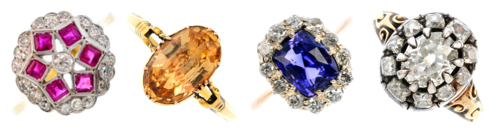 Four beautiful rings from Fellows upcoming November 9th auction.