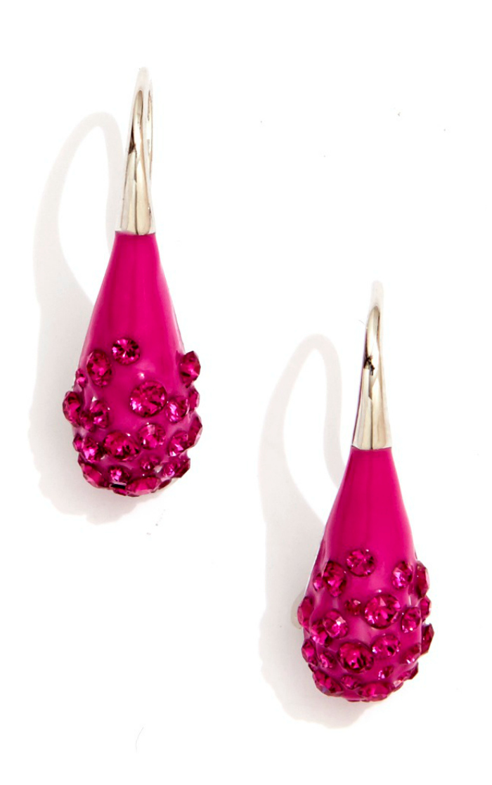 Sarah Magid Candy Drop earrings in cosmo pink with Swarovski crystal.