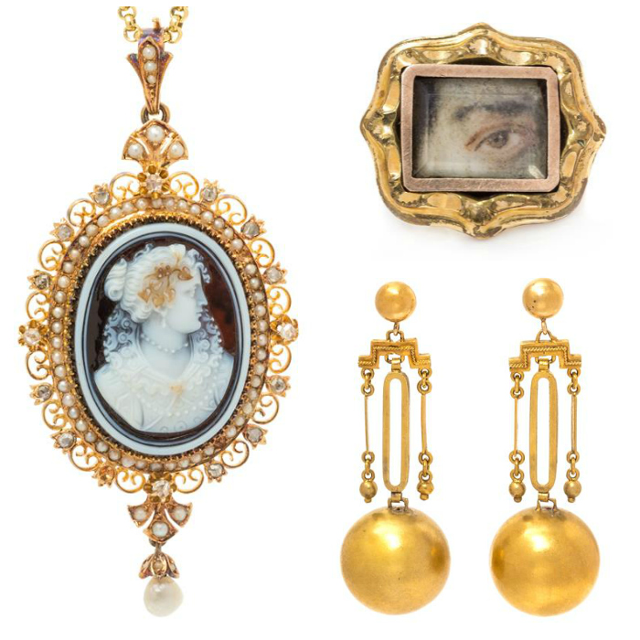 Three lovely gold jewels from the Georigan and Victorian eras! In Leslie Hindman's upcoming auction.