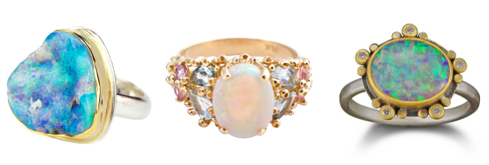Three one of a kind opal rings by Ruta Reifen, Ananda Khalsa, and By Jodi. ,