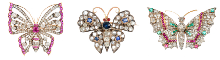 Three vintage butterfly brooches from Fellows' November auction.