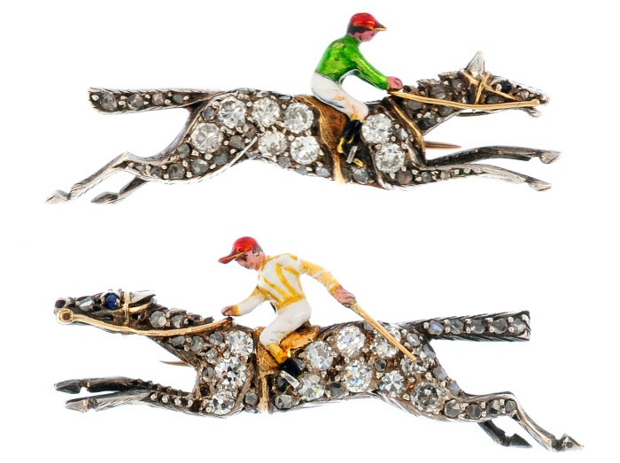 Two mid 20th century gold and silver, diamond and enamel 1939 Northolt racing brooches.
