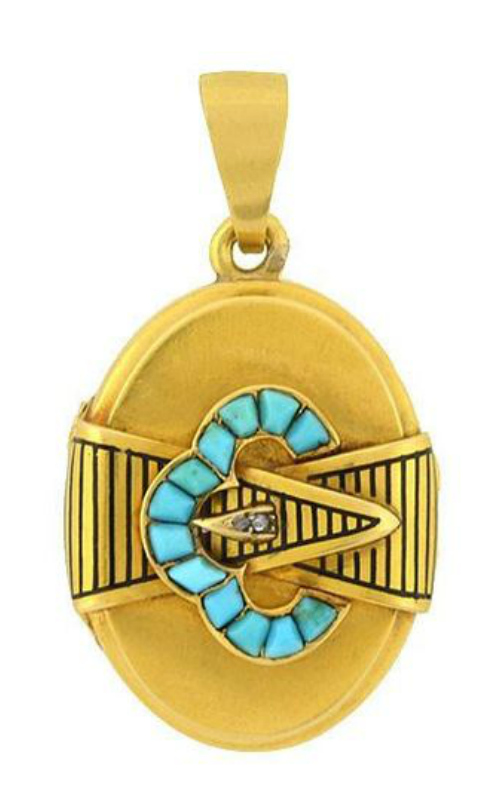 A Victorian era gold locket with turquoise and enamel details.