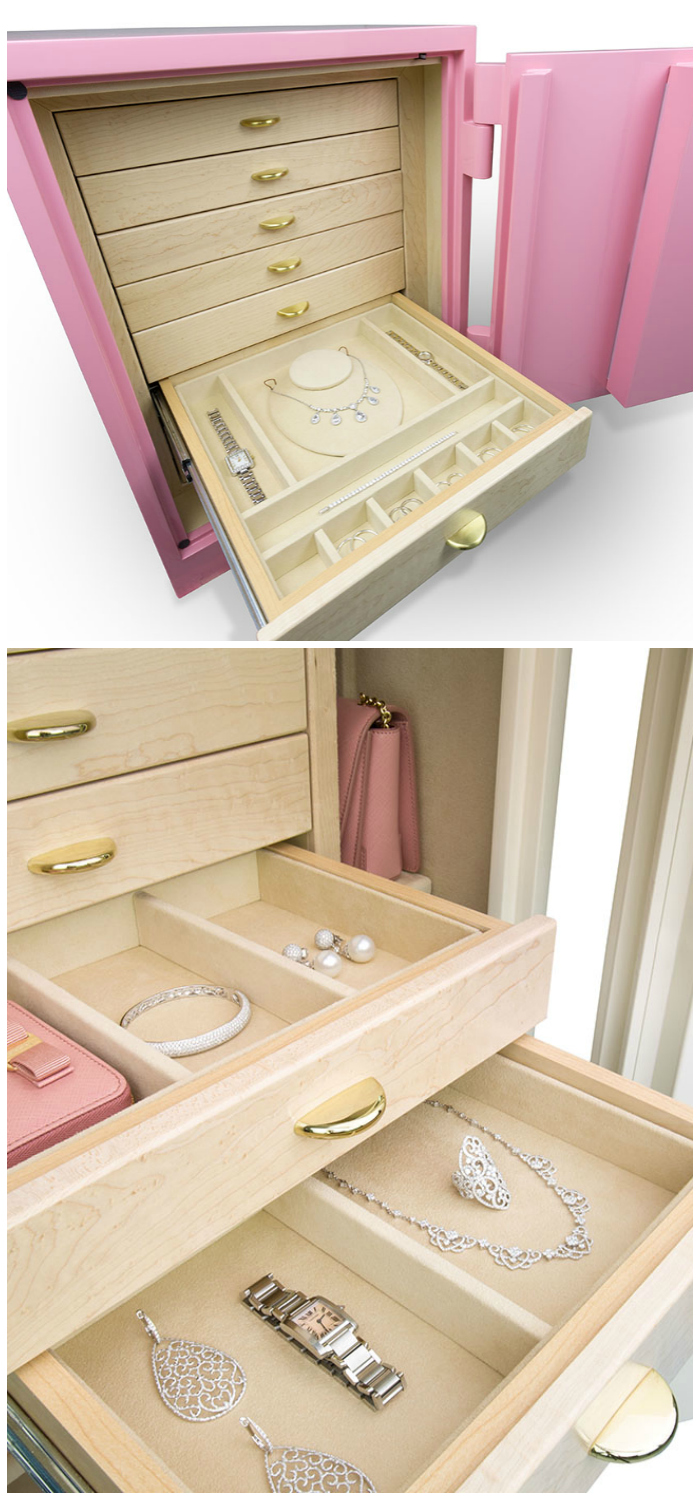 A beautiful custom jewelry safe by Brown Safe! I love that the outside is pink.