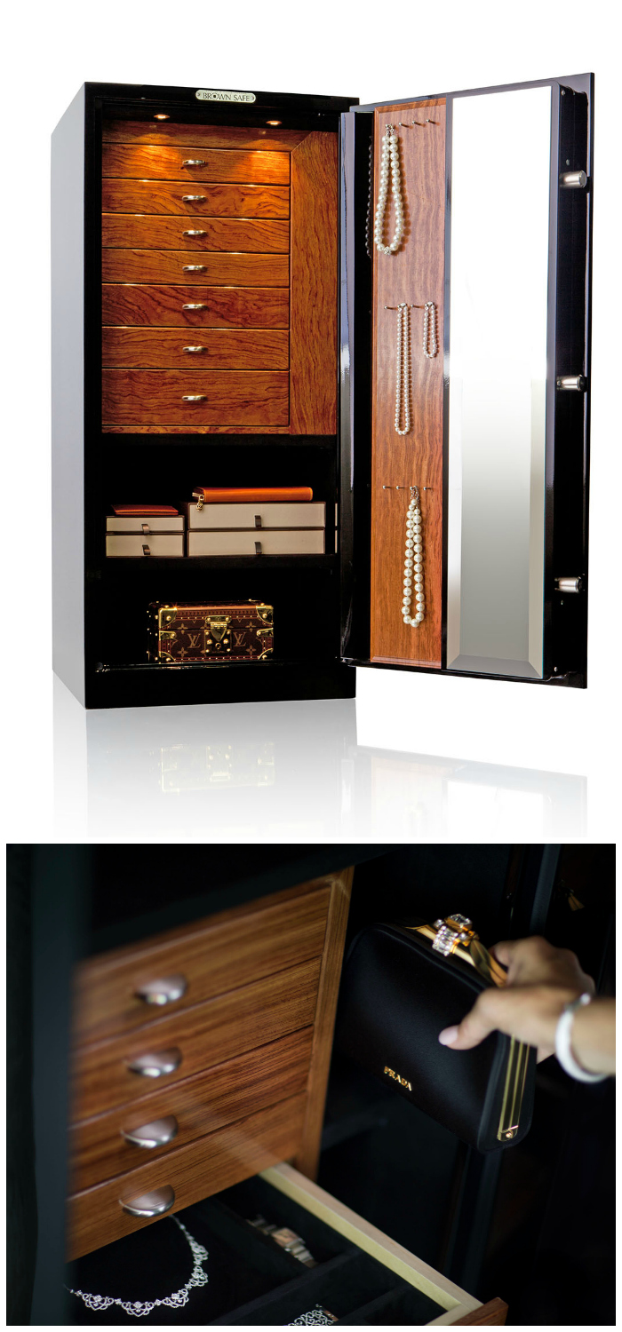 A beautiful custom jewelry safe by Brown Safe! You can design your own, made perfectly to fit your own jewelry collection. This is the dream