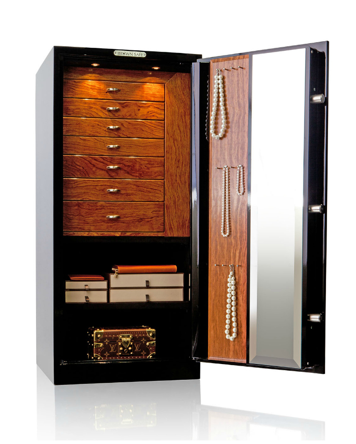 A beautiful custom jewelry safe by Brown Safe! You can design your own, made specifically to fit your own jewelry collection. This is the dream.