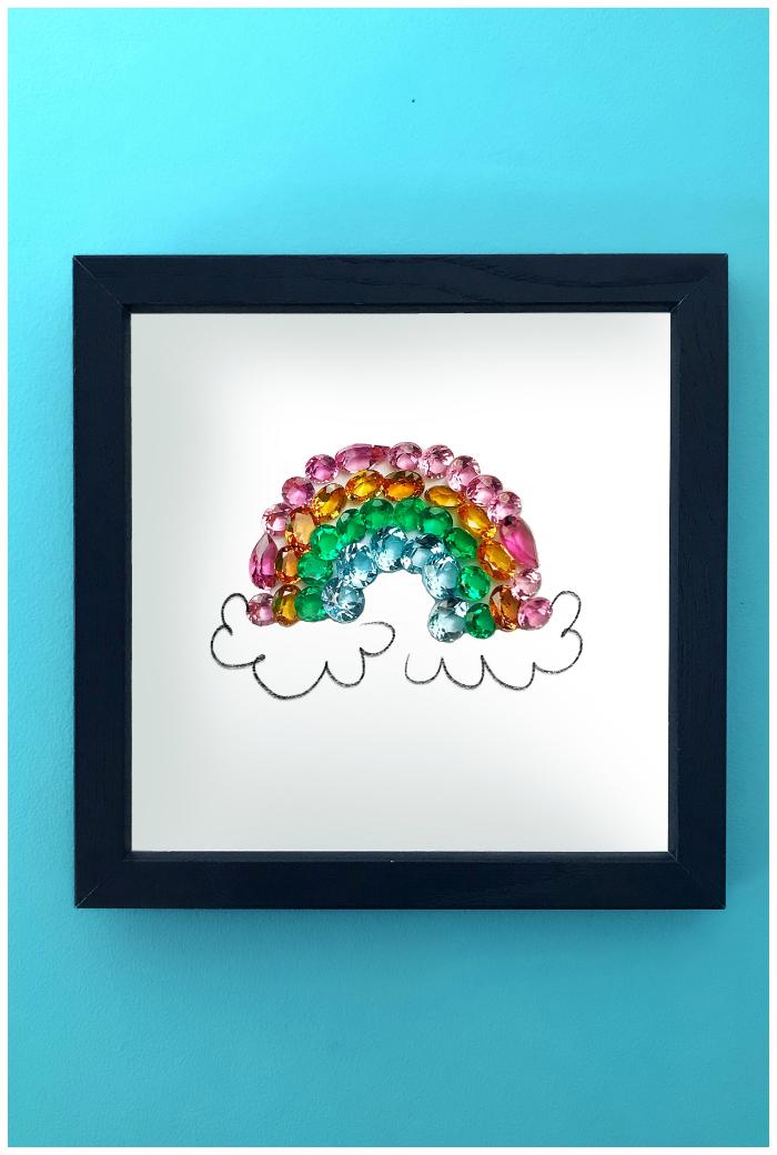 A rainbow made of gemstones! This is an art print of Hannah Becker's original gemstone art, as seen on her popular Instagram account, DiamonDoodles.