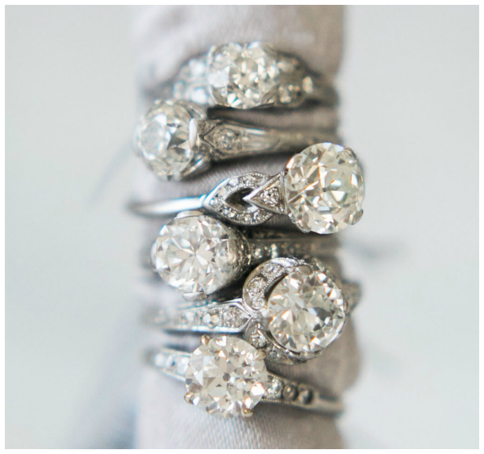 A stack of utterly beautiful antique and vintage engagement rings from Victor Barbone!