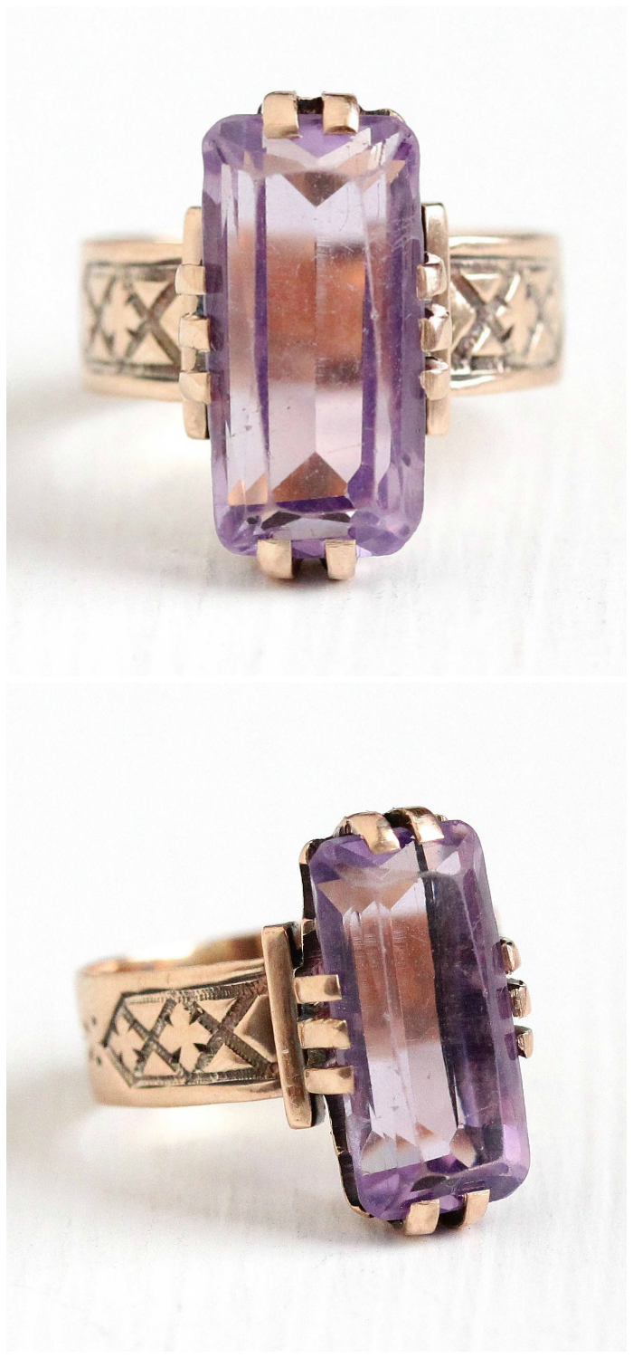 A stunning antique Victorian rose gold ring with a lovely purple amethyst.