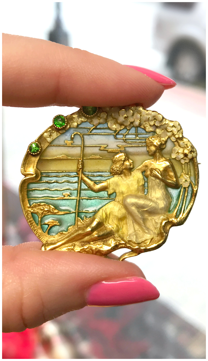 An exceptional antique Art Nouveau brooch from Joden. Look at that dreamy plique-a-jour enamel!!