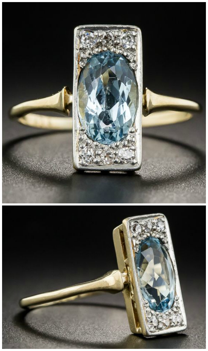 An stunning antique Edwardian aquamarine and diamond ring