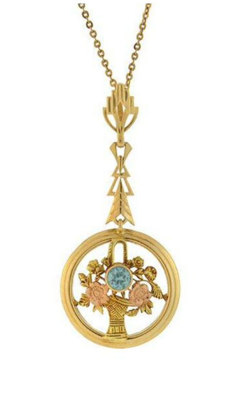Edwardian mixed metal zircon pendant necklace