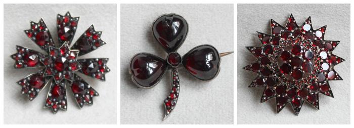 Three Victorian era Bohemian garnet brooches. I love these pretty little antique pieces.