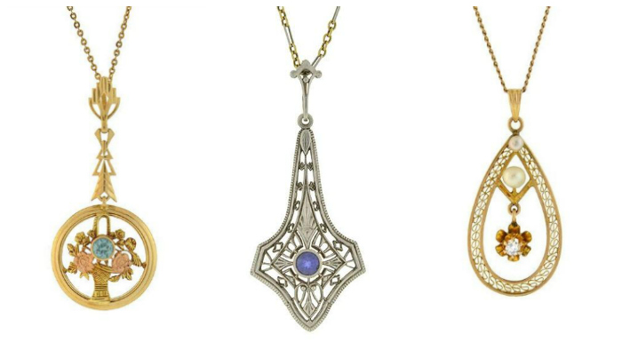 Three antique lavalier necklaces in gold from A Brandt and Son. So pretty!