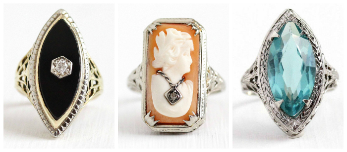 Three fantastic antique rings from MaeJean Vintage!