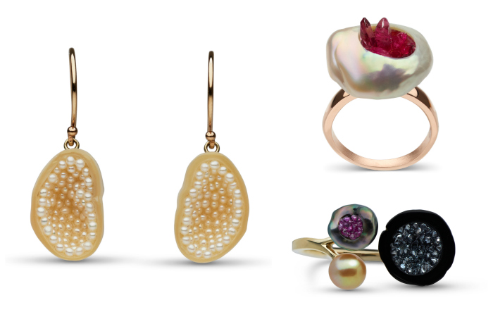 Three pieces of stunning pearl jewelry by little h! I love her work.