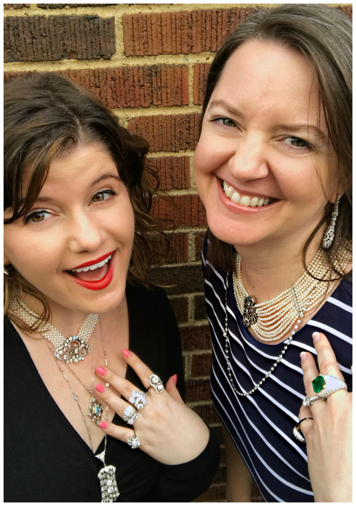 Trying on alllllll the vintage pearl and diamond jewelry with Shelly of Joden!! I love this jewelry store.