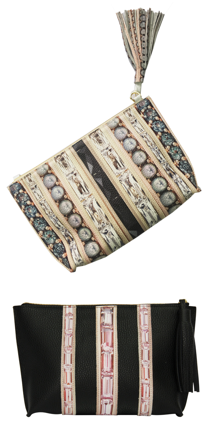 Two gemstone-printed leather pouches from the Jane Tayor Jewelry x Paige Gamble collab.
