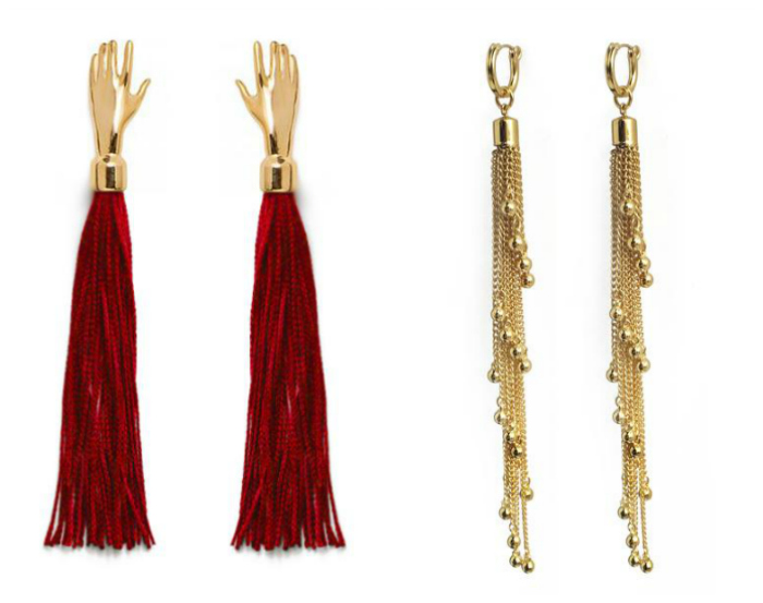 Two pairs of statement earrings from Lady Grey. Perfect for the winter holiday season!