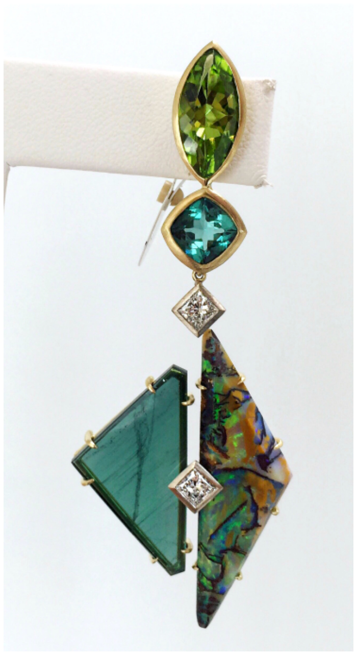 18k yellow gold 'from a different angle' earrings by Heath London Jewelry. With opal, peridot, tourmaline, and diamonds.