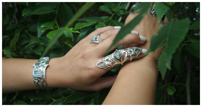 A selection of beautiful sterling silver jewelry from Kristen Dorsey's Hatchet Women collection