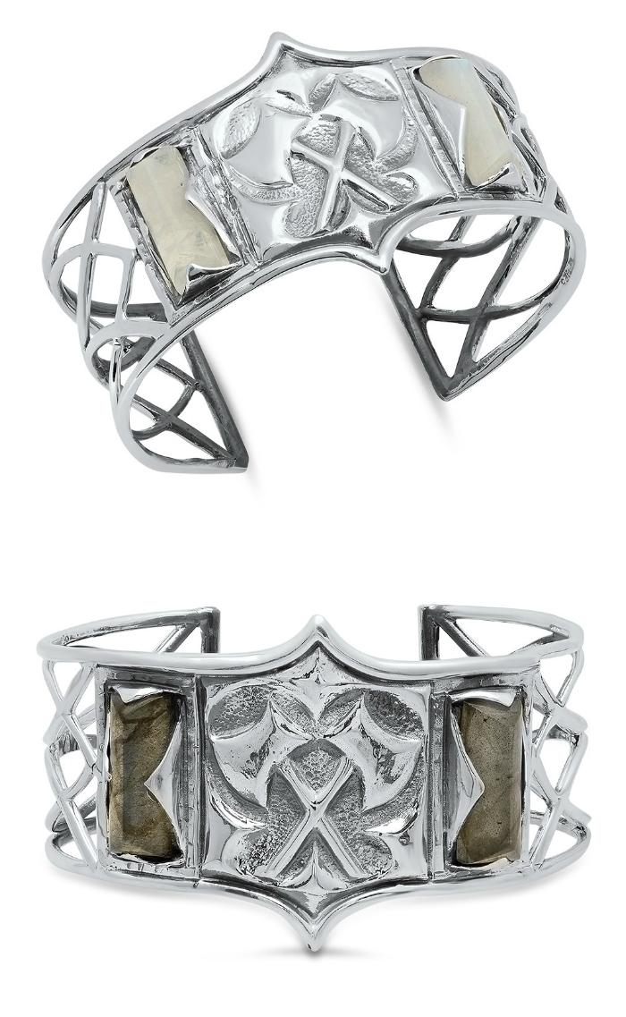A silver and labradorite cuff bracelet from Kristen Dorsey's Hatchet Women Collection.