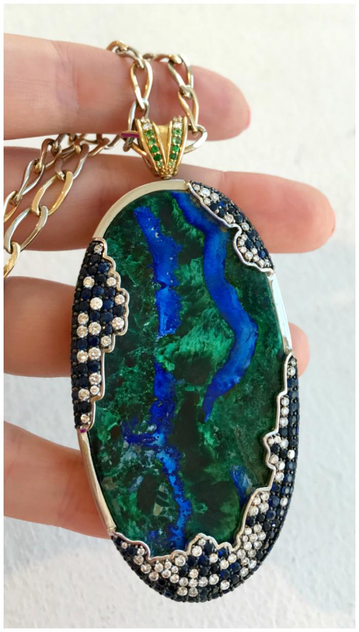 A stunning azurmalachite pendant by Nicolette Fine Jewels.