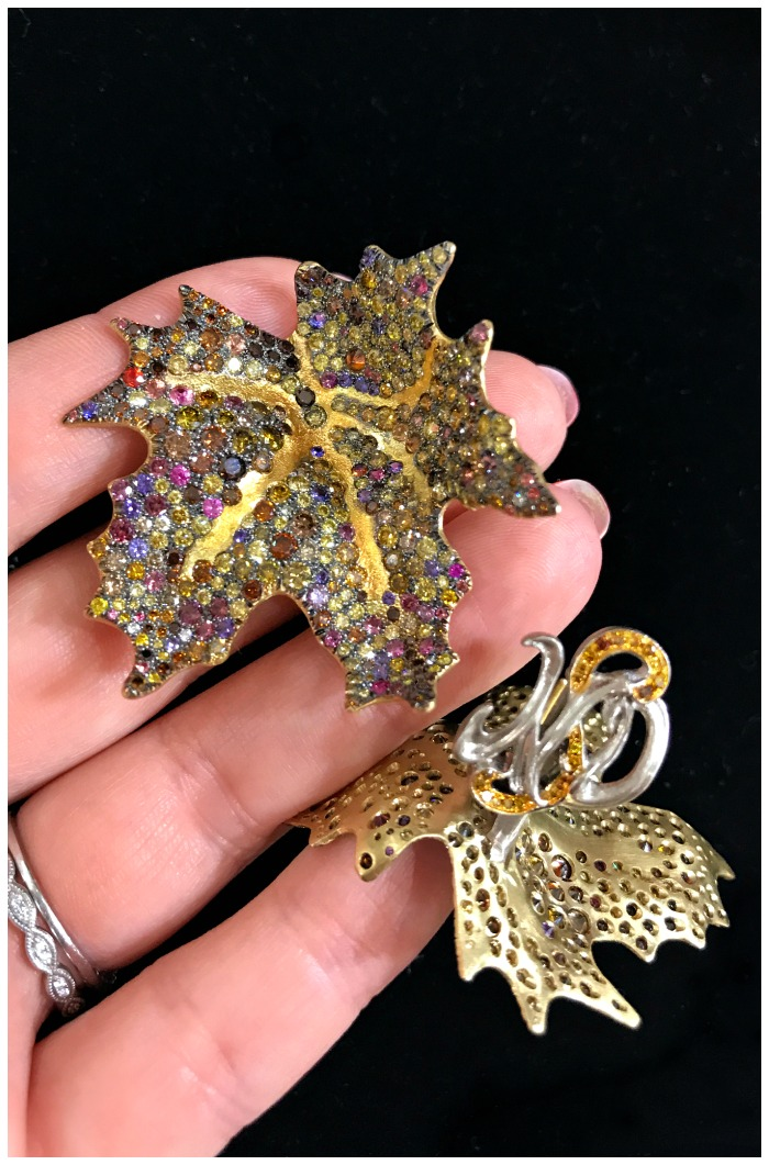 An incredible pair of gem-set maple leaf earrings by award-winning jewelry designer Naomi Sarna.