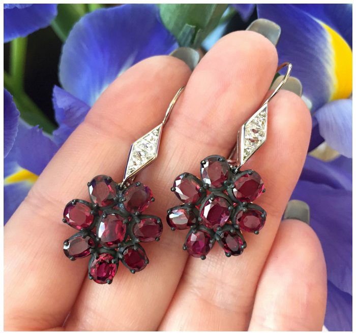 Leon Mege earrings with rubies and diamonds in platinum, sterling silver, and 18k rose gold.