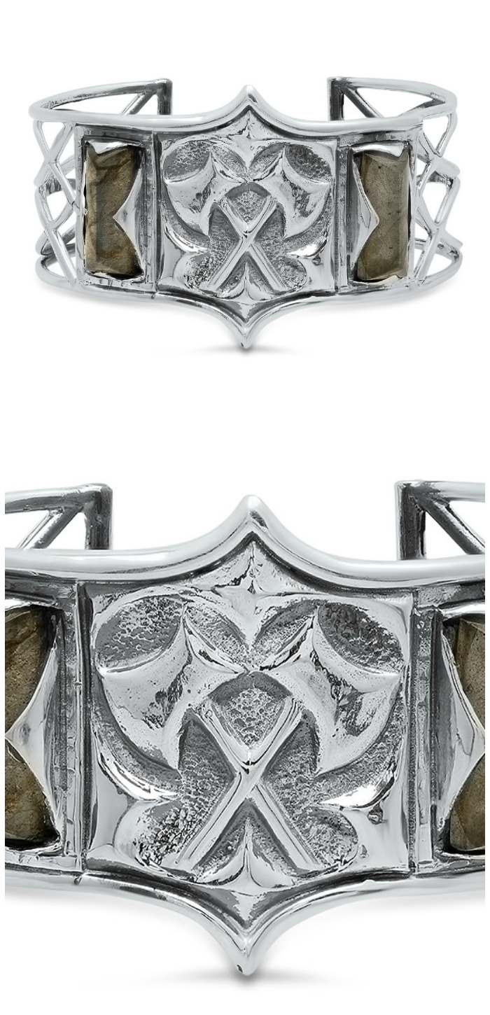 This silver and labradorite cuff bracelet comes from Kristen Dorsey's Hatchet Women Collection; inspired by an incredible true story.