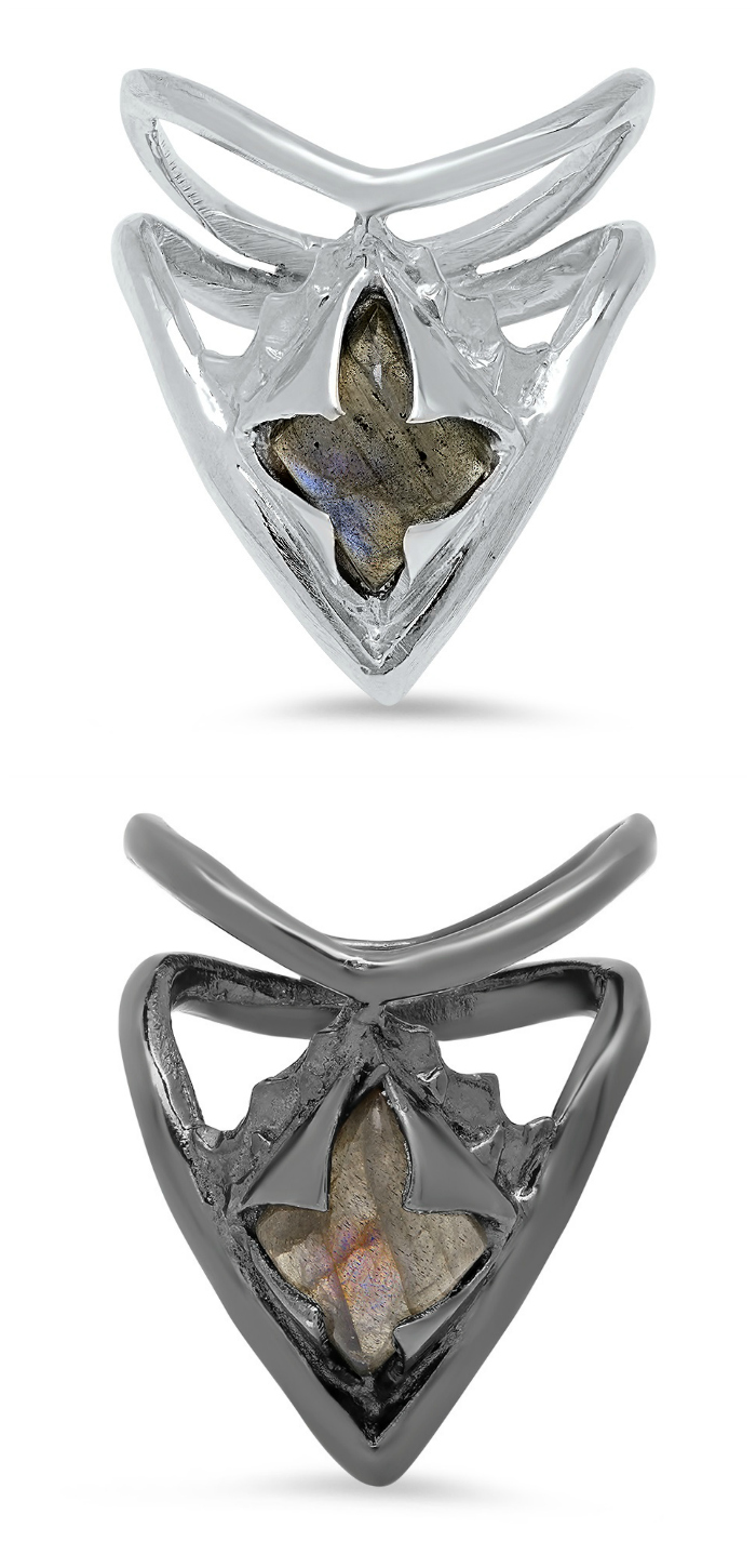 Two versions of Kristen Dorsey's Gemstone Directional Stacking ring. Dorsey's Hatchet Women collection is inspired by an incredible true story.
