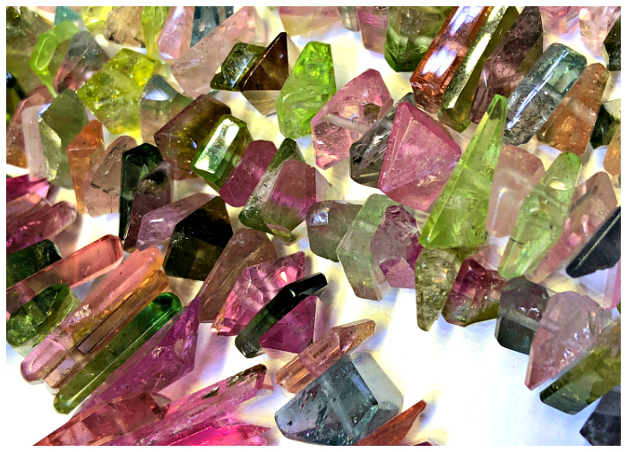 Strands of tourmaline at the Bentley Gemstone booth at the 2018 AGTA GemFair.