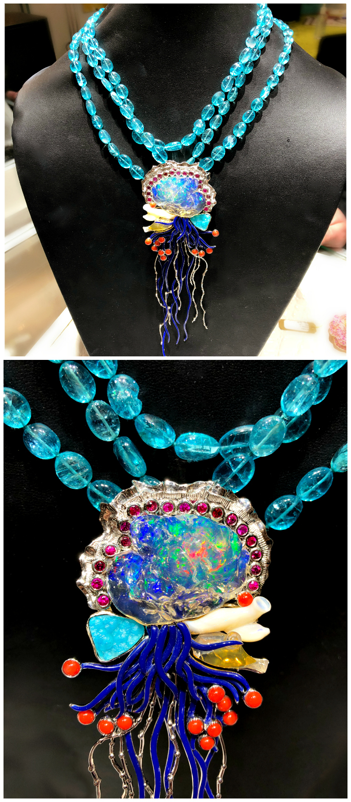 This Paula Crevoshay necklace depicts a beautiful Portuguese Man o' War jellyfish in opal, chrysocolla, sapphire, and coral.