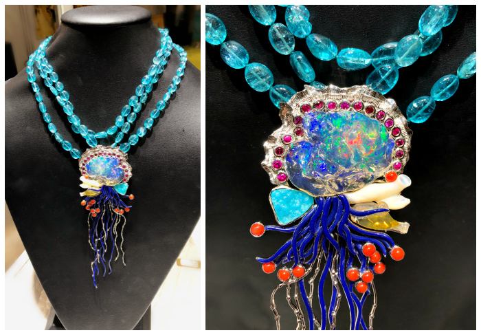This incredible Paula Crevoshay necklace portrays a beautiful Portuguese Man o' War jellyfish in opal, chrysocolla, sapphire, and coral.