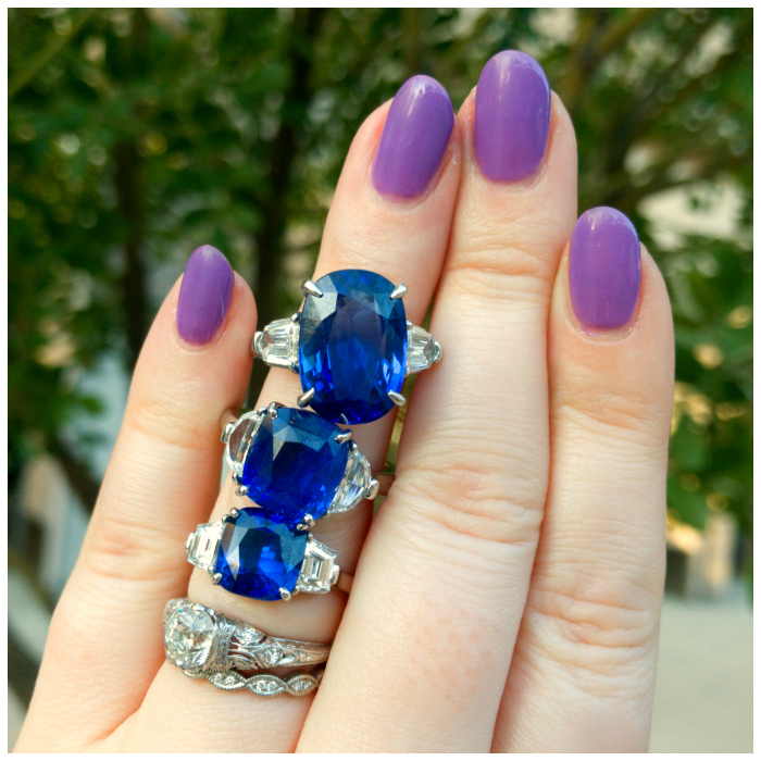 Three beautiful blue sapphire engagement rings from Inner Circle Fine Jewelry! Approx 3 carats, 6 carats, and 9 carats.