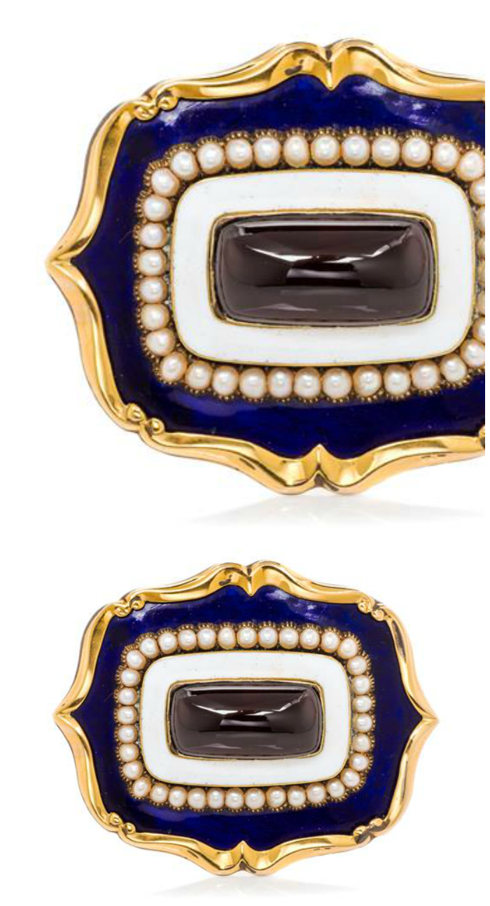 A wonderful little Georgian era brooch with garnet, enamel and seed pearls.