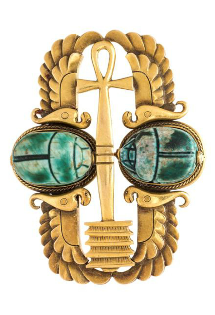 An Egyptian revival 18K yellow gold and faience bead scarab brooch by R.H. Blanchard, Cairo.