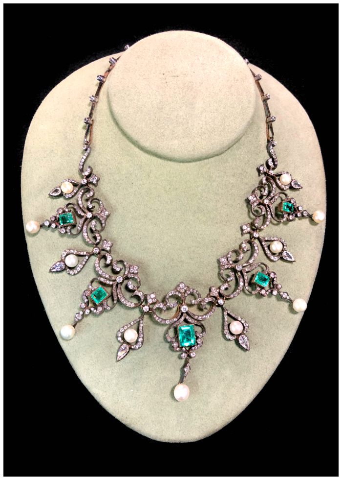 A stunning antique necklace with diamonds, pearls, and emeralds. Victorian era, from DK Bressler.