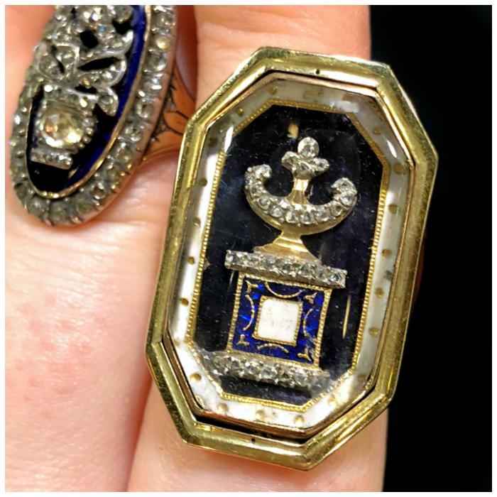 An incredible antique urn mourning ring from DK Bressler. Georgian era.