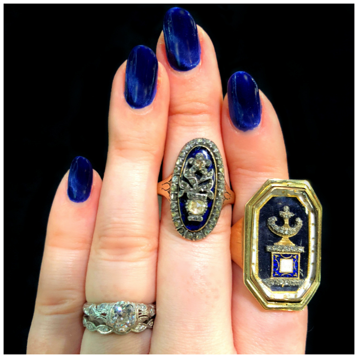 Incredible antique mourning rings from DK Bressler. Georgian era. That urn is stunning.