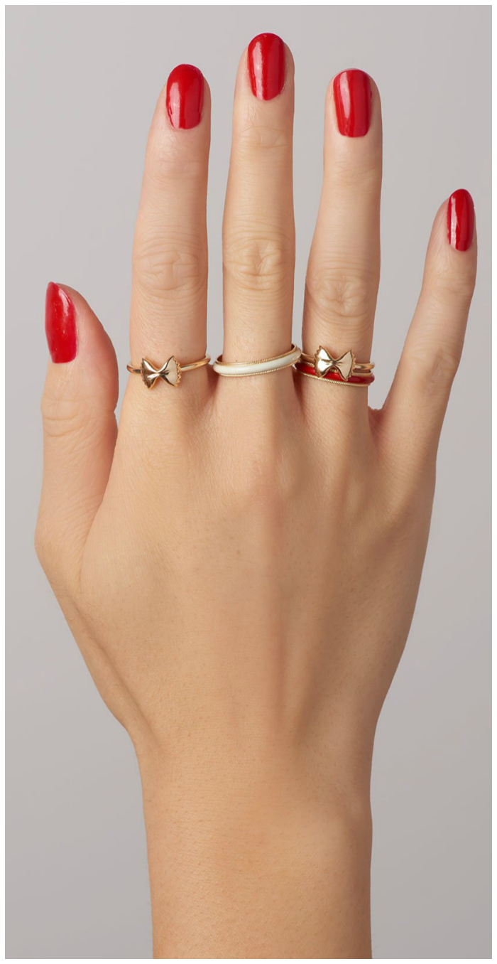 Rings from Alison Lou's pasta-inspired Mama Mia collection!