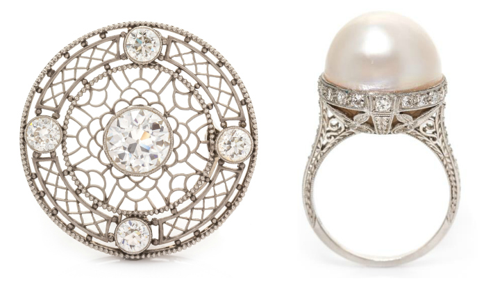 Two stunning Edwardian pieces of jewelry! A diamond and platinum brooch and a pearl ring.