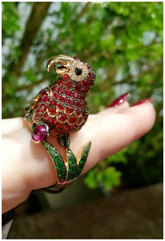 A cheerful Roberto Coin parrot cocktail ring!! I love Italian jewelry design.