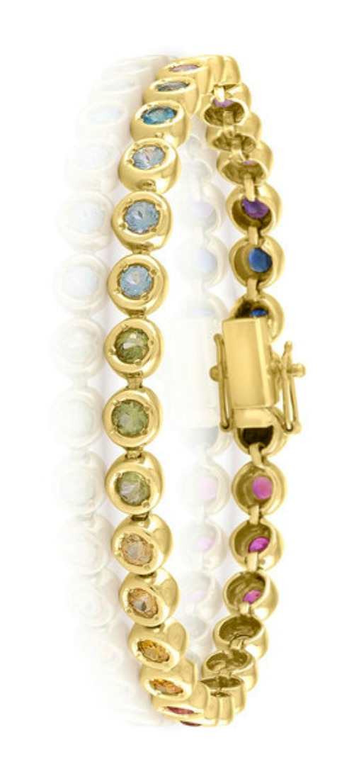 A rainbow gemstone bracelet by Kelly Bello Designs.