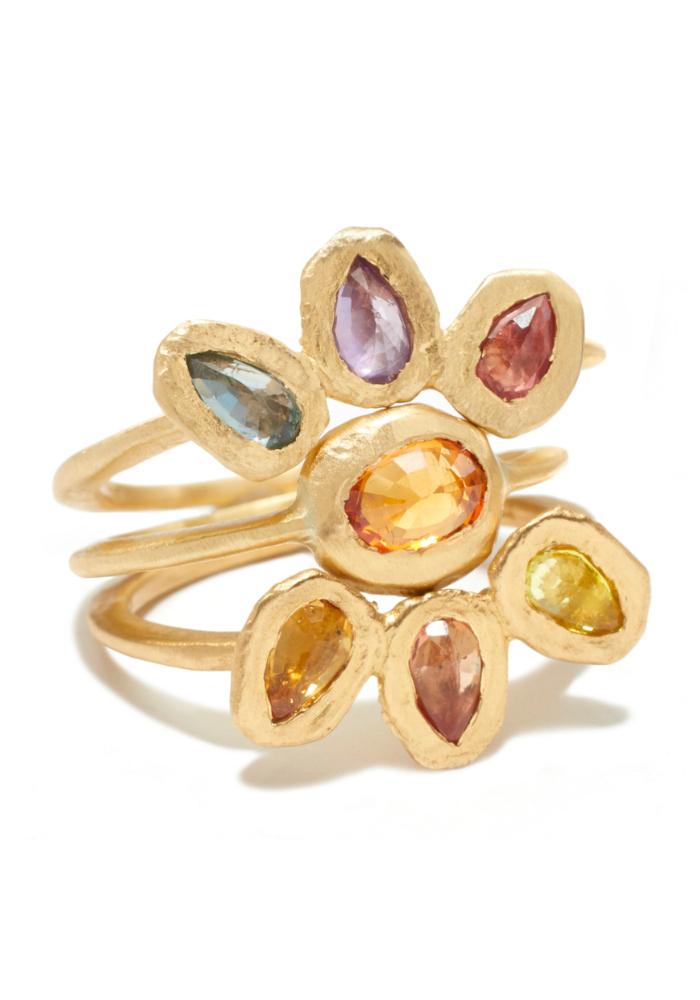 A rainbow gemstone ring byPage Sargisson.